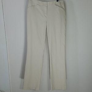 Pants khaki beige mid-rise straight leg stretch